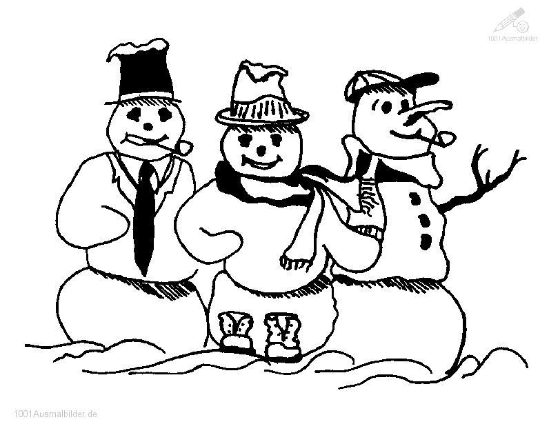 Ausmalbild Drei Schneemanner