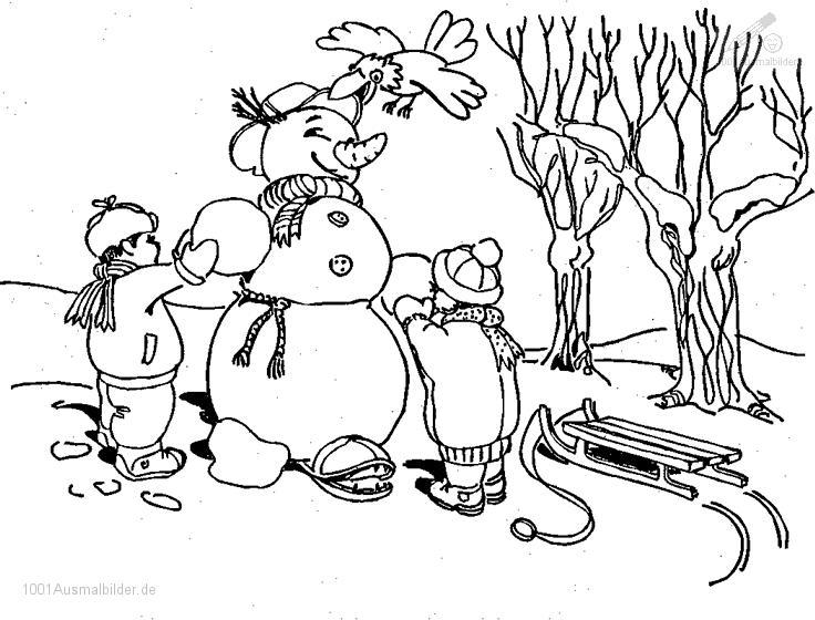 1001 Ausmalbilder Jahreszeit Winter Ausmalbild