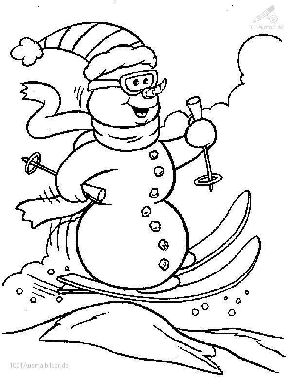 Schneemann auf Ski