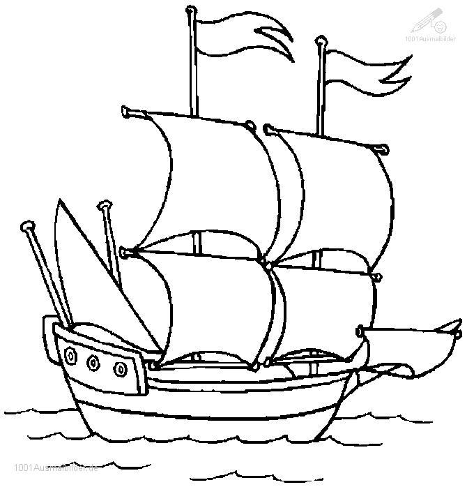Ausmalbild Segelboot