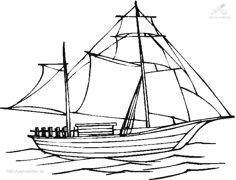 Ausmalbild Segel boot