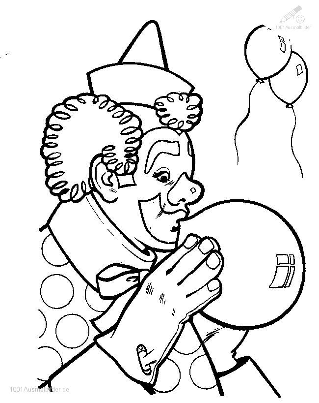 Ausmalbild Zirkus Clown
