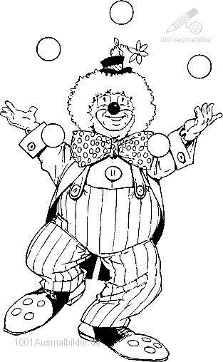 Ausmalbild Clown