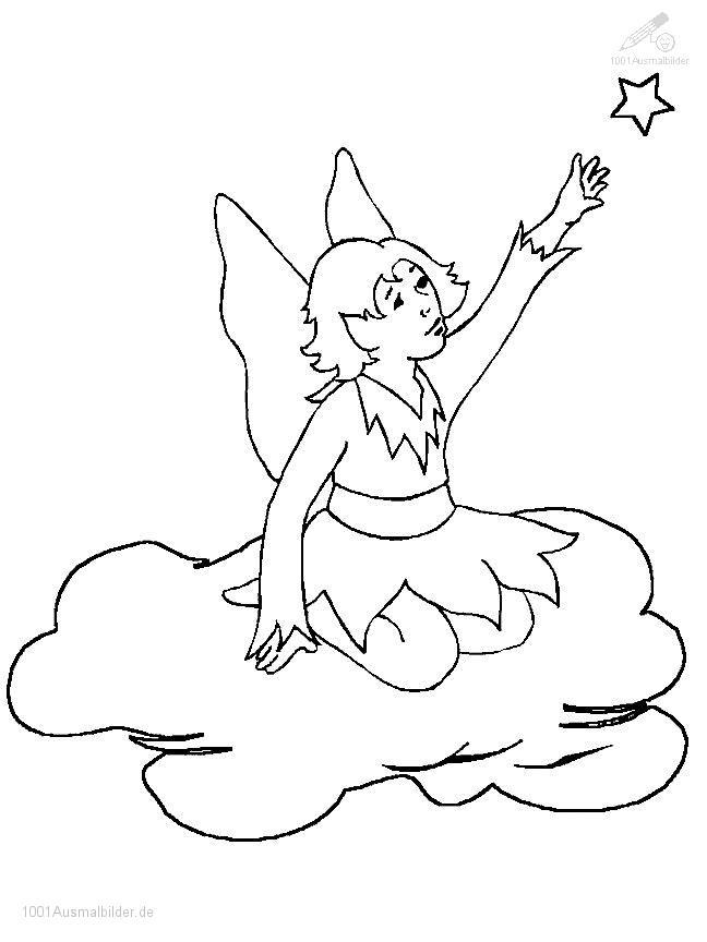 Ausmalbild Elfe