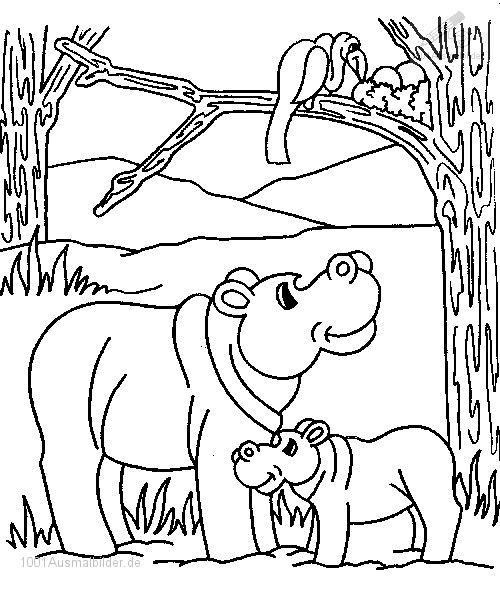 Ausmalbild Flusspferd
