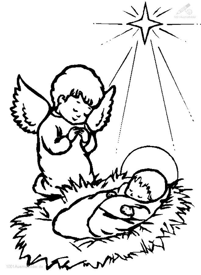 Ausmalbild Jesus und engel