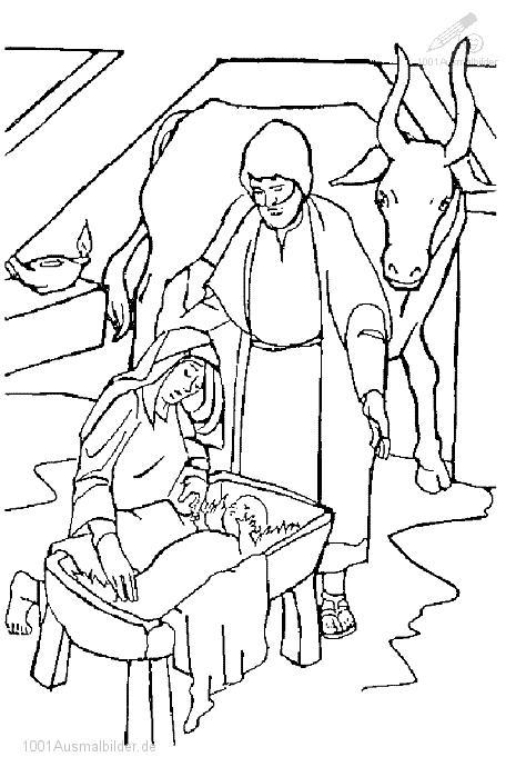 Ausmalbild Jesus Maria und Joseph