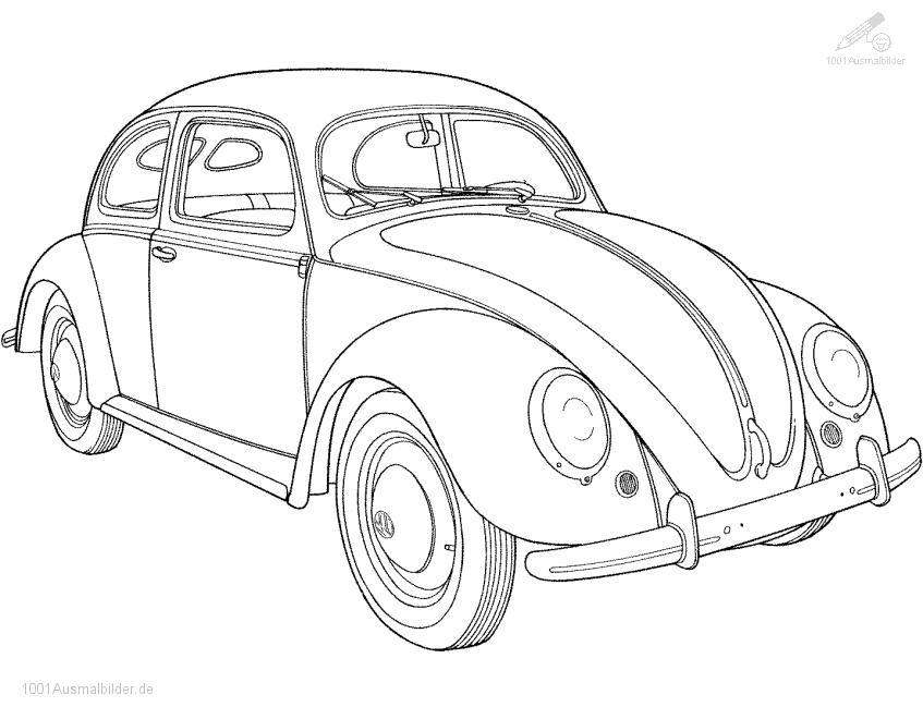 1001 AUSMALBILDER : Fahrzeuge >> Auto >> Ausmalbild Volkswagen Kafer