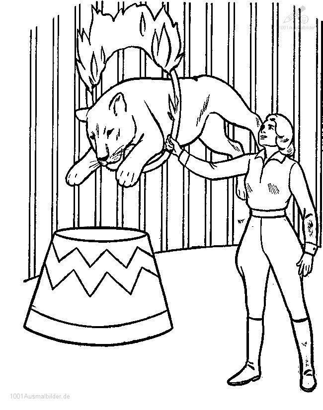 ausmalbild zirkus lowe