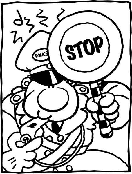 Ausmalbild Stop Polizei