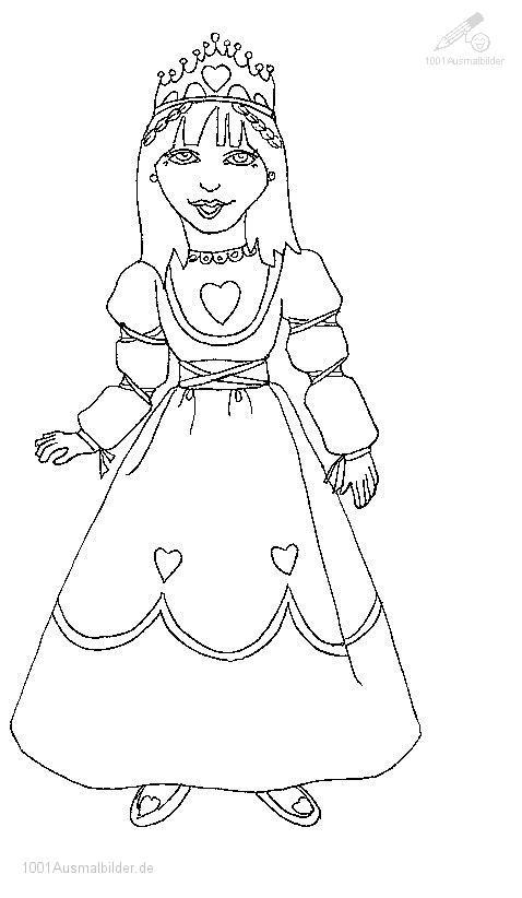1001 AUSMALBILDER : Phantasie >> Prinzessin >> Ausmalbild Prinzessin