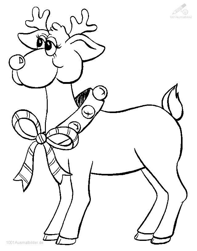 1001 Ausmalbilder Weihnachten Rentier Rudolph Ausmalbild