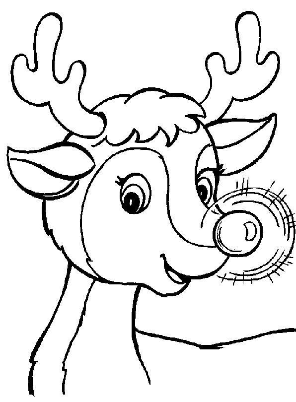1001 AUSMALBILDER : Weihnachten >> Rentier Rudolph >> Ausmalbild ...