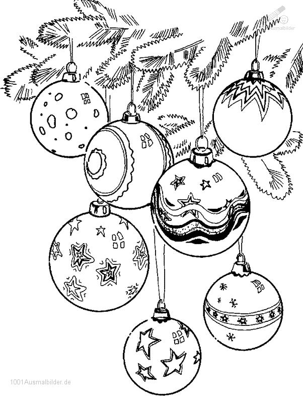 Ausmalbild Weihnachtskugeln