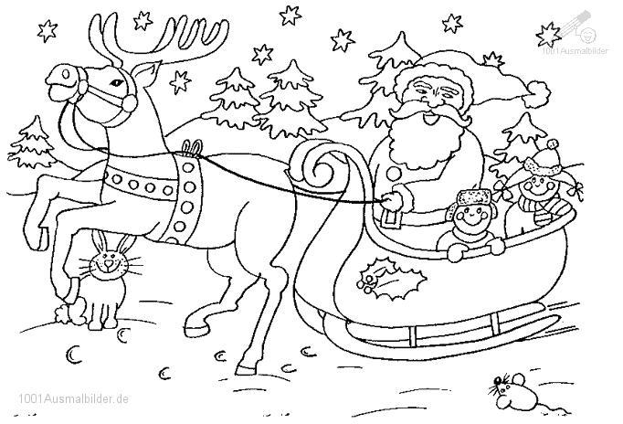 1001 Ausmalbilder Weihnachten Schlitten Ausmalbild