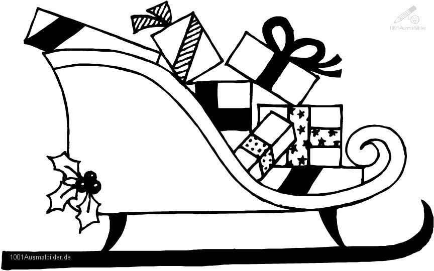 Weihnachten >> Schlitten >> Ausmalbild WeihnachtsSchlitte
