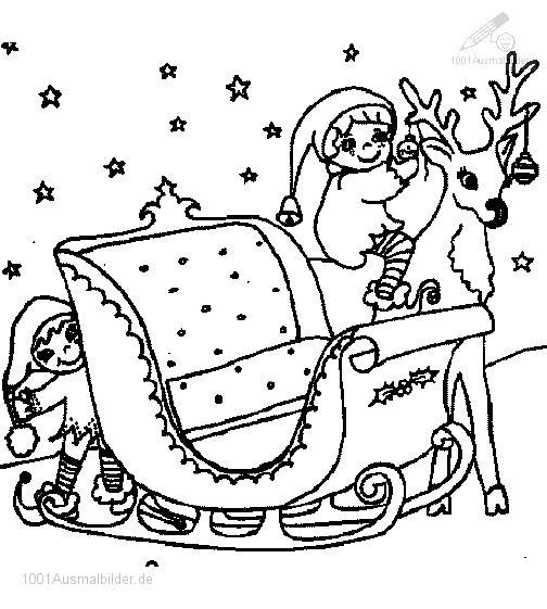 Ausmalbild: ausmalbild-weihnachtsman-schlitten-6