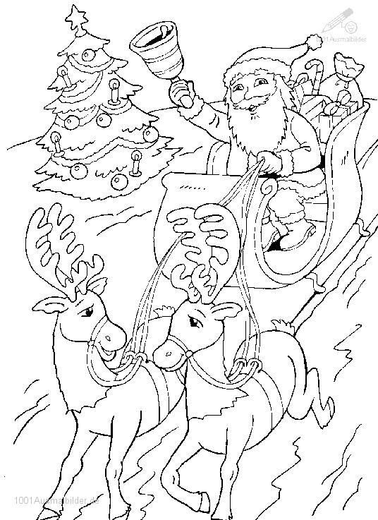 Ausmalbild: ausmalbild-weihnachtsman-schlitten-7