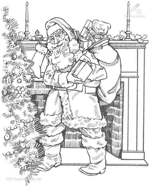 old fashion santa coloring pages - photo#13