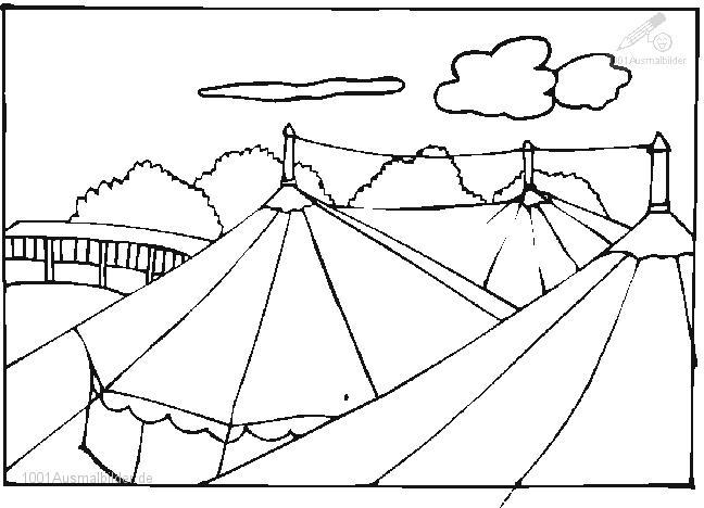 Ausmalbild Zirkuszelt