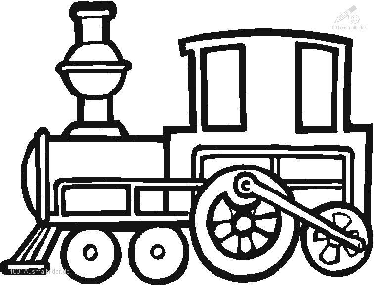 Ausmalbild Zug Lokomotive