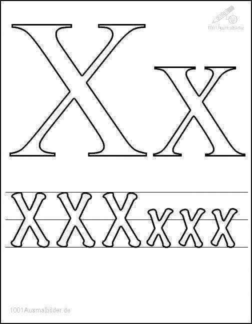 Ausmalbild: kleurplaat-letter-x