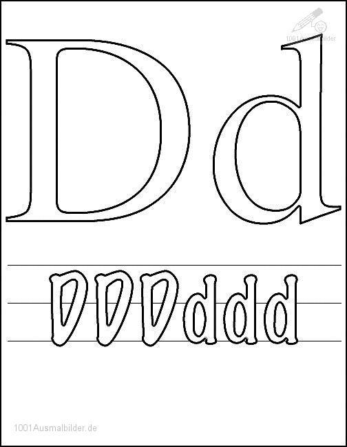 Ausmalbild Schriftzeichen D