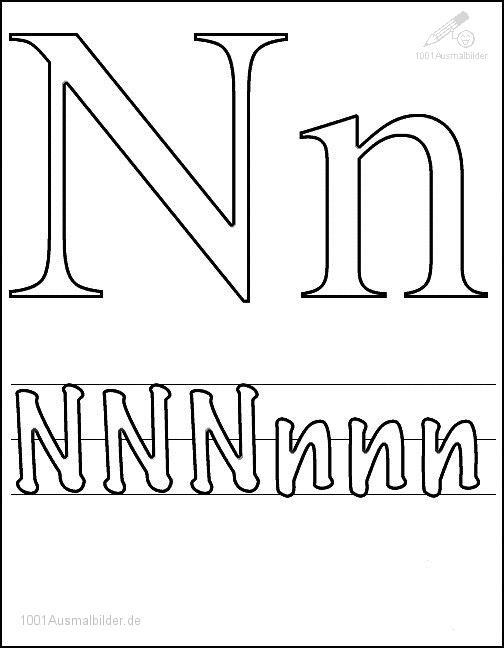 Ausmalbild Schriftzeichen N