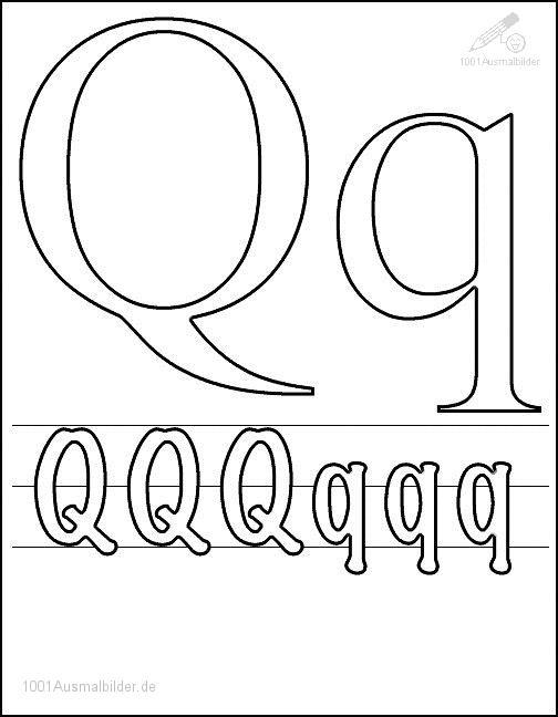 Ausmalbild Schriftzeichen Q