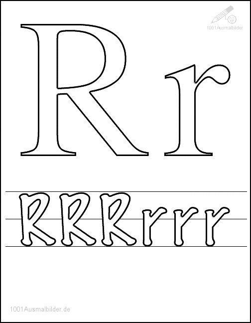Ausmalbild Schriftzeichen R