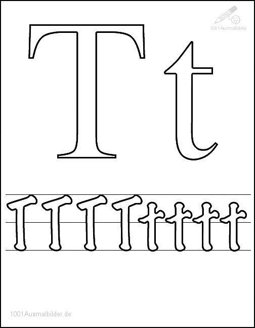 Ausmalbild Schriftzeichen T