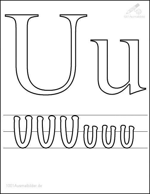 Ausmalbild Schriftzeichen U