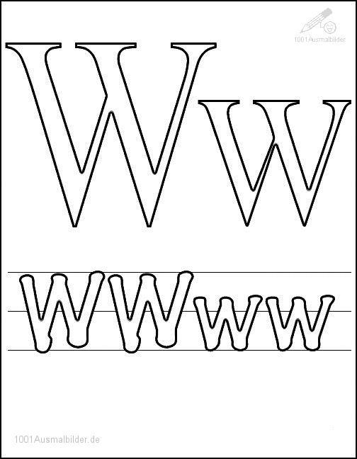 Ausmalbild Schriftzeichen W
