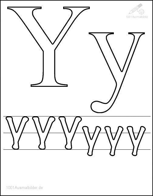 Ausmalbild Schriftzeichen Y